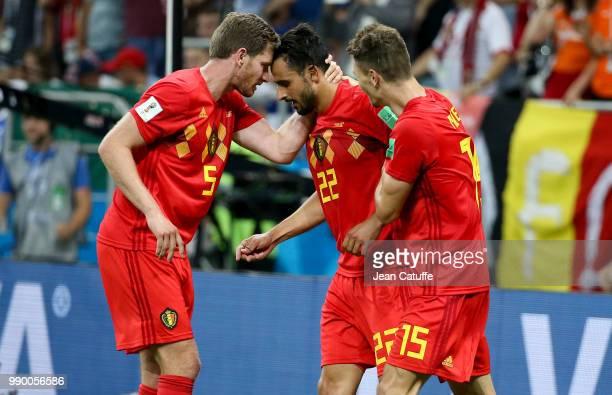 Nacer Chadli of Belgium celebrates his last minute winning goal between Jan Vertonghen and Thomas Meunier during the 2018 FIFA World Cup Russia Round...