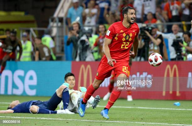 Nacer Chadli of Belgium celebrates his last minute winning goal during the 2018 FIFA World Cup Russia Round of 16 match between Belgium and Japan at...