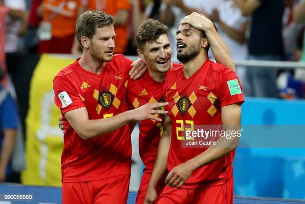 Nacer Chadli of Belgium celebrates his last minute winning goal with Jan Vertonghen Thomas Meunier during the 2018 FIFA World Cup Russia Round of 16...