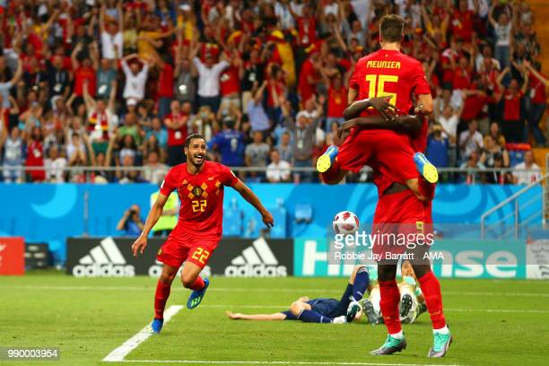 Nacer Chadli of Belgium celebrates scoring a goal to make it 32 during the 2018 FIFA World Cup Russia Round of 16 match between Belgium and Japan at...