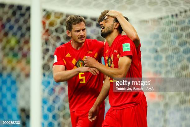 Nacer Chadli of Belgium celebrates scoring a goal to make it 32 with Jan Vertonghen of Belgium during the 2018 FIFA World Cup Russia Round of 16...