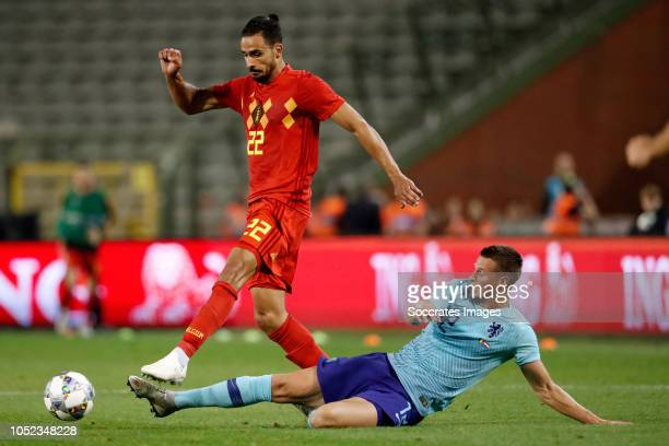 Nacer Chadli of Belgium Hans Hateboer of Holland during the International Friendly match between Belgium v Holland on October 16 2018