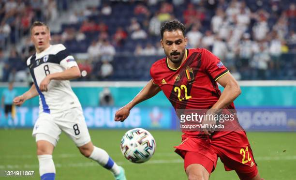 Nacer Chadli of Belgium in action with the ball during the UEFA Euro 2020 Championship Group B match between Finland and Belgium at Saint Petersburg...