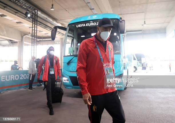 Nacer Chadli of Belgium is seen wearing a face mask as he arrives at the stadium prior to the UEFA Euro 2020 Championship Quarter-final match between...
