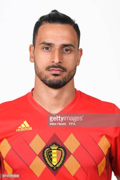 Nacer Chadli of Belgium poses for a portrait during the official FIFA World Cup 2018 portrait session at the Moscow Country Club on June 14 2018 in...