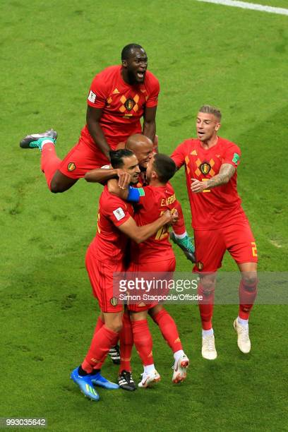 Nacer Chadli of Belgium Romelu Lukaku of Belgium and Toby Alderweireld of Belgium celebrate their opening goal during the 2018 FIFA World Cup Russia...