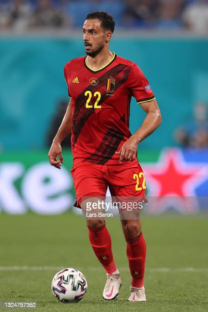 Nacer Chadli of Belgium runs with the ball during the UEFA Euro 2020 Championship Group B match between Finland and Belgium at Saint Petersburg...