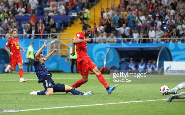 Nacer Chadli of Belgium scores his team's third goal during the 2018 FIFA World Cup Russia Round of 16 match between Belgium and Japan at Rostov...