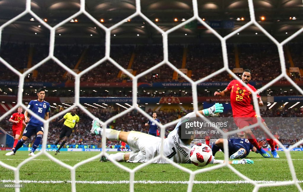 Nacer Chadli of Belgium scores past Eiji Kawashima of Japan his team's third goal during the 2018 FIFA World Cup Russia Round of 16 match between Belgium and Japan at Rostov Arena on July 2, 2018 in Rostov-on-Don, Russia.