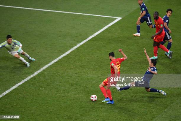 Nacer Chadli of Belgium scores past Eiji Kawashima of Japan his team's third goal during the 2018 FIFA World Cup Russia Round of 16 match between...