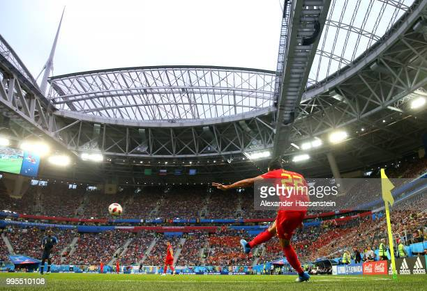 Nacer Chadli of Belgium takes a corner kick during the 2018 FIFA World Cup Russia Semi Final match between Belgium and France at Saint Petersburg...