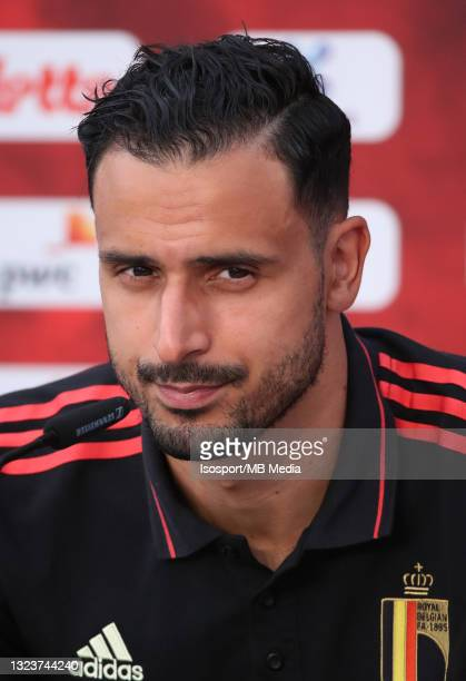 """Nacer Chadli of Belgium talks to the medias before a training session of the Belgian national soccer team """" The Red Devils """" ahead of the upcoming..."""