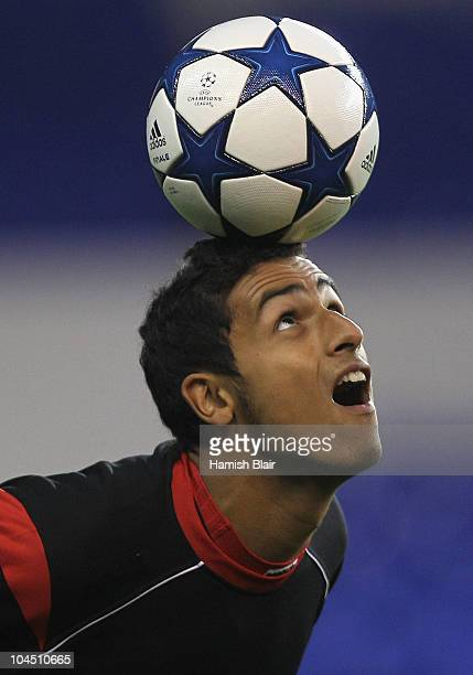 Nacer Chadli of FC Twente in action during their training session ahead of their Group A match against Tottenham Hotspur at White Hart Lane on...