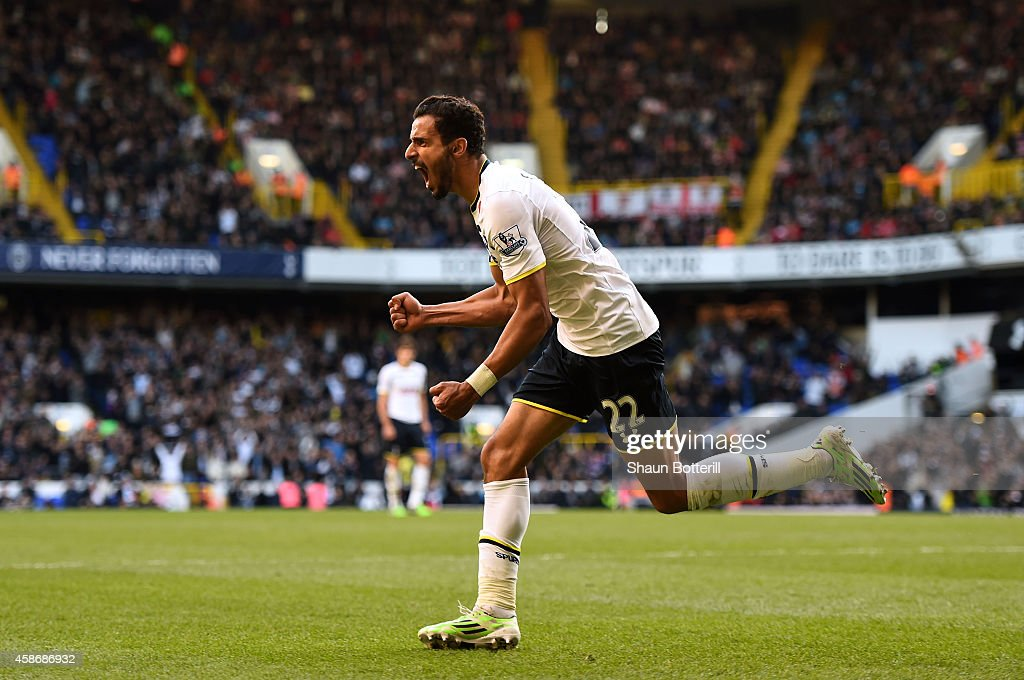 Nacer Chadli of Spurs celebrates after scoring a goal during the Barclays Premier League match between Tottenham Hotspur and Stoke City at White Hart Lane on November 9, 2014 in London, England.