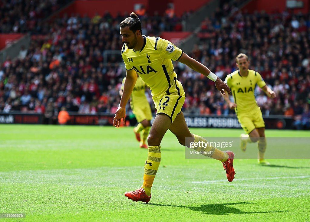Nacer Chadli of Spurs celebrates as he scores their second goal during the Barclays Premier League match between Southampton and Tottenham Hotspur at St Mary's Stadium on April 25, 2015 in Southampton, England.