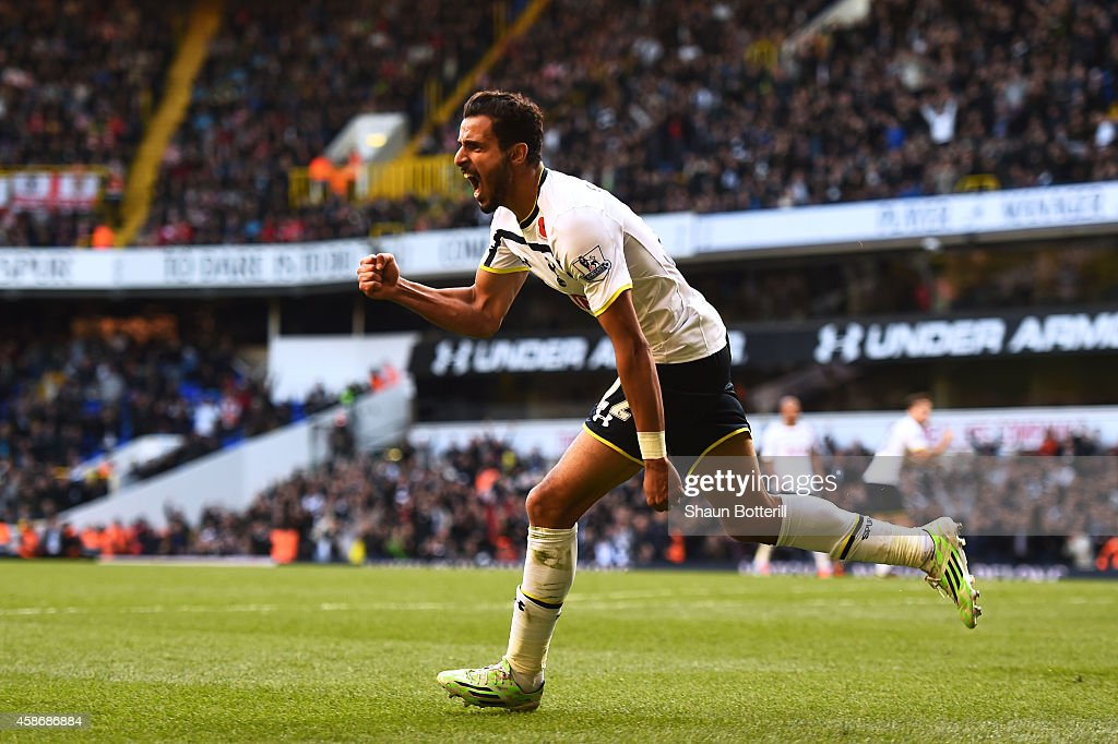 Nacer Chadli of Spurs celerates after scoring a goal during the Barclays Premier League match between Tottenham Hotspur and Stoke City at White Hart Lane on November 9, 2014 in London, England.