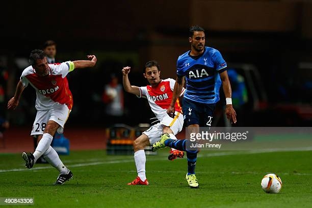 Nacer Chadli of Tottenham Hotspur breaks through to set up the first goal during the UEFA Europa League group J match between AS Monaco FC and...