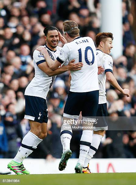 Nacer Chadli of Tottenham Hotspur celebrates scoring his goal with Harry Kane during the Barclays Premier League match between Tottenham Hotspur and...