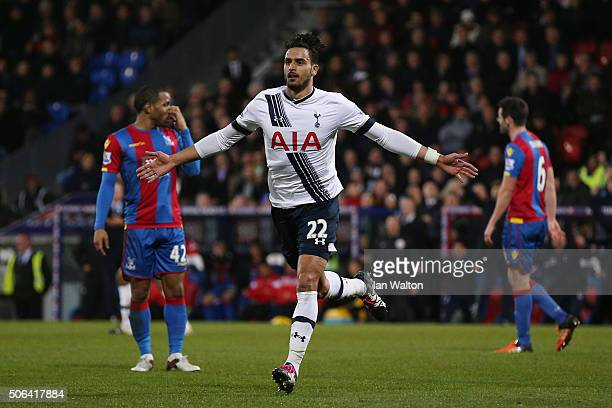 Nacer Chadli of Tottenham Hotspur celebrates scoring his team's third goal during the Barclays Premier League match between Crystal Palace and...