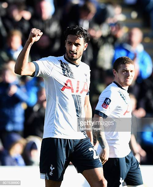 Nacer Chadli of Tottenham Hotspur celebrates scoring his team's third goal during the Emirates FA Cup Fourth Round match between Colchester United...