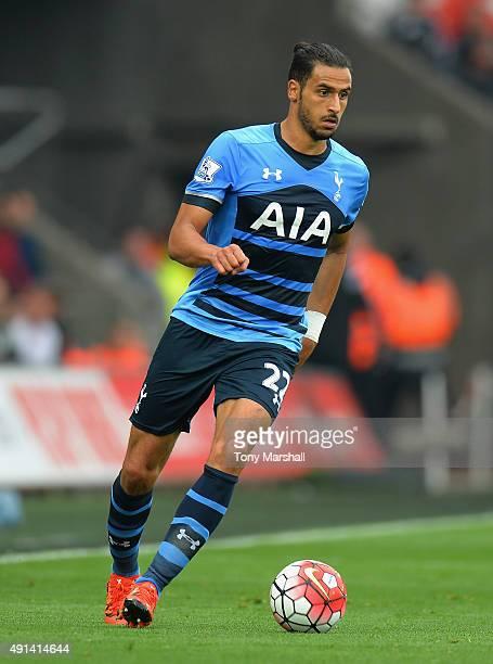 Nacer Chadli of Tottenham Hotspur during the Barclays Premier League match between Swansea City and Tottenham Hotpsur at the Liberty Stadium on...
