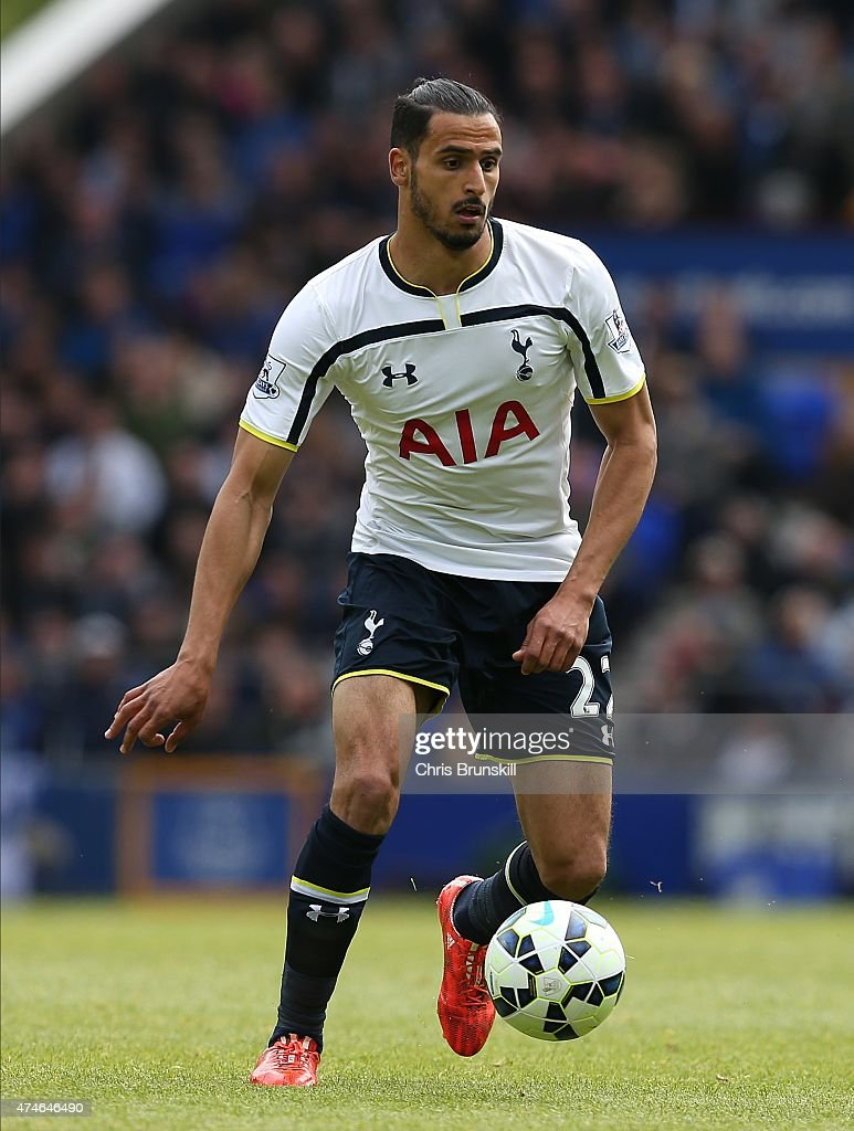 Nacer Chadli of Tottenham Hotspur in action during the Barclays Premier League match between Everton and Tottenham Hotspur at Goodison Park on May 24, 2015 in Liverpool, England.