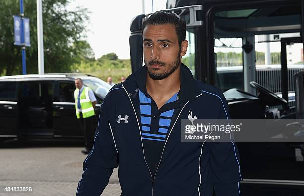 Nacer Chadli of Tottenham Hotspur is seen on arrival at the stadium prior to the Barclays Premier League match between Leicester City and Tottenham...
