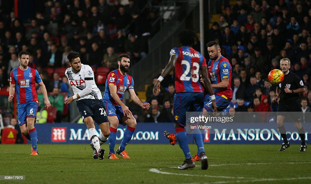 Nacer Chadli (2nd L) of Tottenham Hotspur scores his team's third goal during the Barclays Premier League match between Crystal Palace and Tottenham Hotspur at Selhurst Park on January 23, 2016 in London, England.