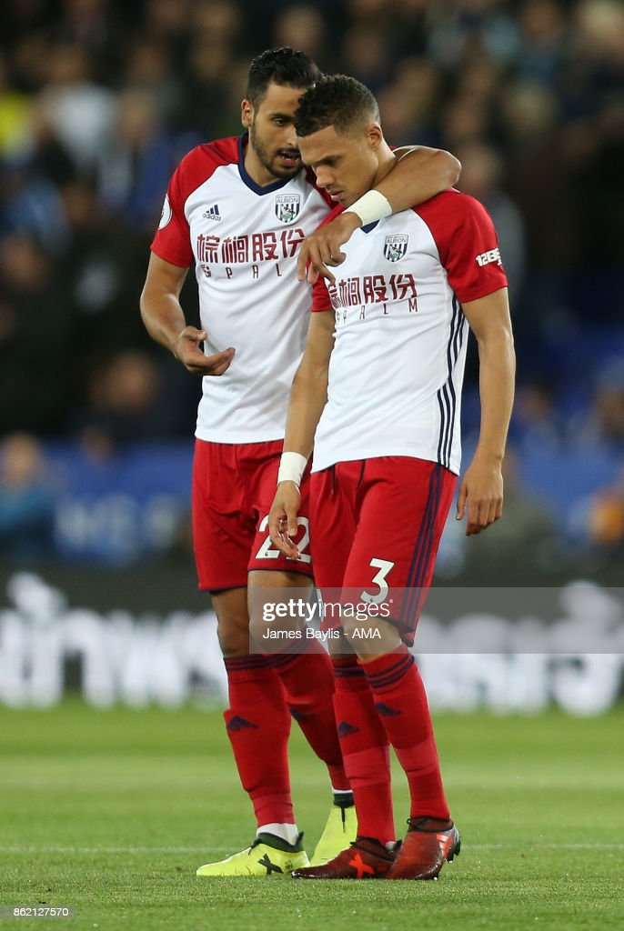 Nacer Chadli of West Bromwich Albion and Kieran Gibbs of West Bromwich Albion during the Premier League match between Leicester City and West Bromwich Albion at The King Power Stadium on October 16, 2017 in Leicester, England.