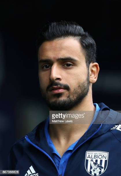 Nacer Chadli of West Bromwich Albion arrives at the stadium prior to the Premier League match between West Bromwich Albion and Manchester City at The...