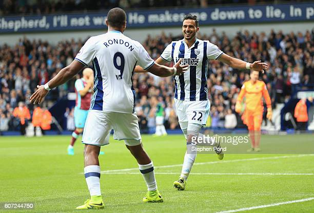 Nacer Chadli of West Bromwich Albion celebrates scoring his sides first goal with Jose Salomon Rondón of West Bromwich Albion during the Premier...