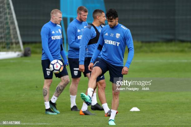 Nacer Chadli of West Bromwich Albion during a West Bromwich Albion Training Session on April 26 2018 in West Bromwich England