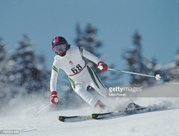 Nacera Boukamoum of Algeria skiing in the Women's Giant Slalom competition on 19 February 1992 during the XVI Olympic Winter Games at Meribel,...