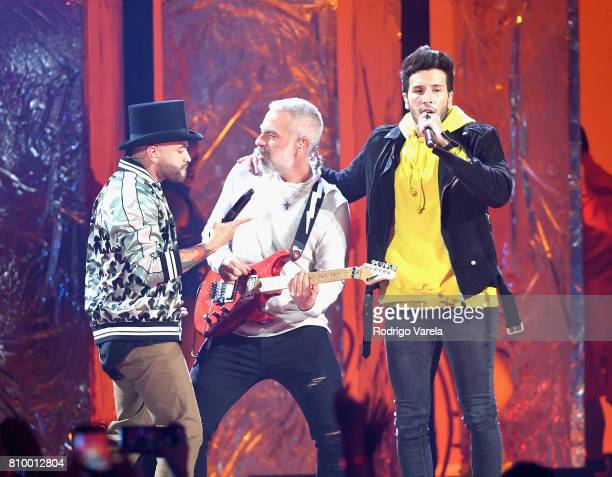 Nacho and Sebastian Yatra perform on stage during Univision's 'Premios Juventud' 2017 Celebrates The Hottest Musical Artists And Young Latinos...