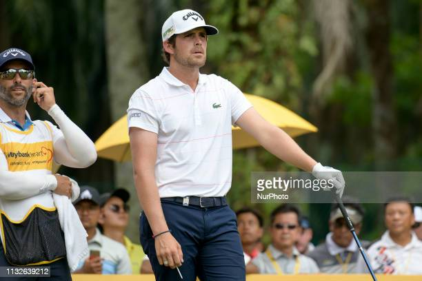 Nacho Elvira of Spain hits his teeshot on the on the 18th hole on Day Four of the Maybank Championship at Saujana Golf and Country Club on March 24...
