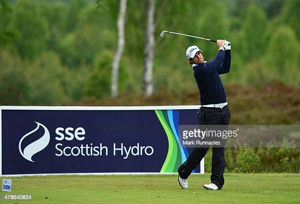 Nacho Elvira of Spain in action on the 10th tee during the second round of the 2015 SSE Scottish Hydro Challenge at the MacDonald Spey Valley...