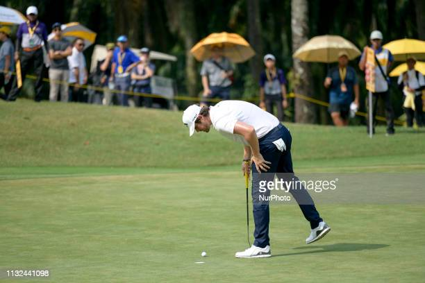 Nacho Elvira of Spain in action on the 2nd hole on Day Four of the Maybank Championship at Saujana Golf and Country Club on March 24 2019 in Kuala...