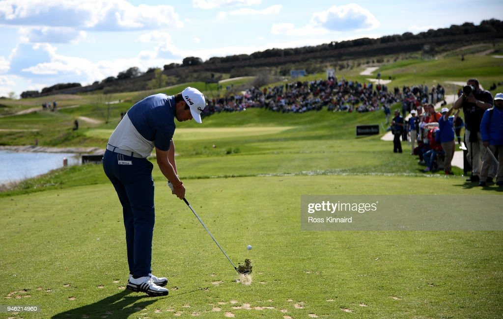 Nacho Elvira of Spain on the 17th tee during the third round of the Open de Espana at Centro Nacional de Golf on April 14, 2018 in Madrid, Spain.