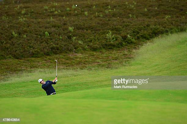 Nacho Elvira of Spain plays his approach shot to the 9th green during the second round of the 2015 SSE Scottish Hydro Challenge at the MacDonald Spey...