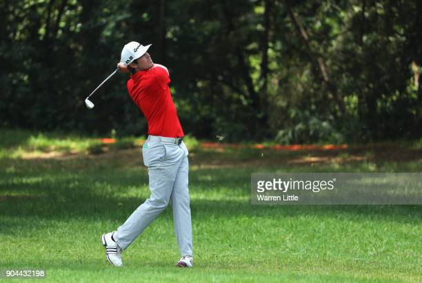 Nacho Elvira of Spain plays his second shot on the 7th hole during day three of the BMW South African Open Championship at Glendower Golf Club on...