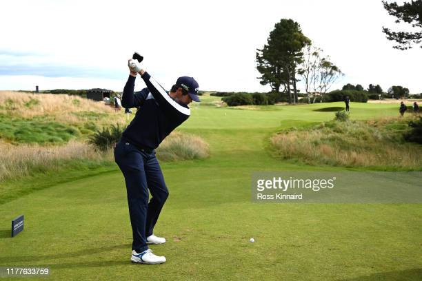 Nacho Elvira of Spain tees off on the 14th hole during Day three of the Alfred Dunhill Links Championship at Carnoustie Golf Links on September 28...