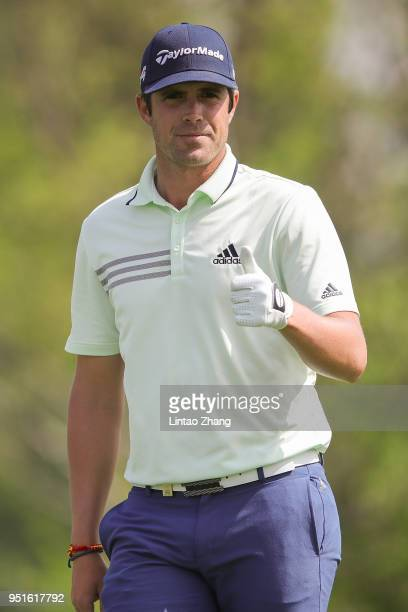 Nacho Elvira of Spain waves to the fans during the day two of the 2018 Volvo China Open at Topwin Golf and Country Club on April 27, 2018 in Beijing,...