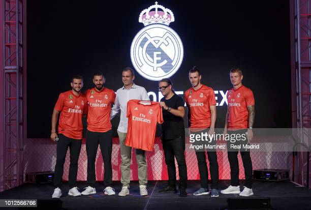 Nacho Fernandez Karim Benzema Gareth Bale and Toni Kroos of Real Madrid pose during the new third kit launch on August 6 2018 in New York NY