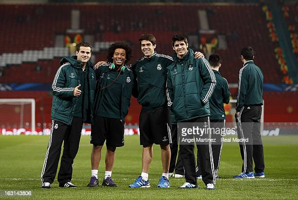 Nacho Fernandez Marcelo Vieira Kaka and Alvaro Morata of Real Madrid pose on the pitchprior of the UEFA Champions League Round of 16 second leg match...