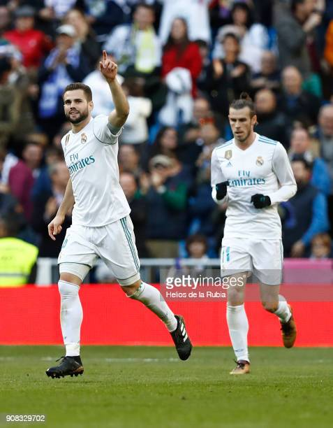 Nacho Fernandez of Real Madrid celebrates after scoring during the La Liga match between Real Madrid CF and Deportivo La Corua at Estadio Santiago...
