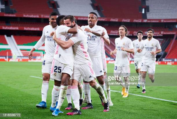 Nacho Fernandez of Real Madrid celebrates after scoring goal during the La Liga Santander match between Athletic Club and Real Madrid at Estadio de...