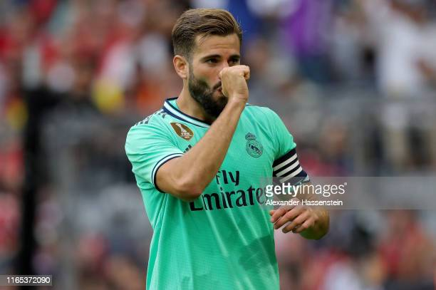 Nacho Fernandez of Real Madrid celebrates after scoring his team's fourth goal during the Audi cup 2019 3rd place match between Real Madrid and...