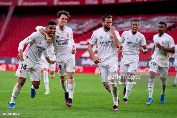 Nacho Fernandez of Real Madrid celebrates after scoring his team's first goal during the La Liga Santander match between Athletic Club and Real...