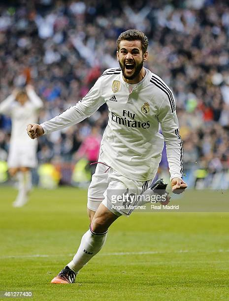 Nacho Fernandez of Real Madrid celebrates after scoring his team's third goal during the La Liga match between Real Madrid and RCD Espanyol at...