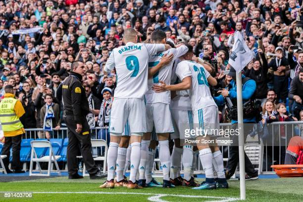 Nacho Fernandez of Real Madrid celebrating his score with his teammates during the La Liga 201718 match between Real Madrid and Sevilla FC at...